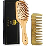 BFWood Wooden Hair Brush Set - Bamboo Paddle Detangling Hairbrush and Sandalwood Hair Comb for Long,...