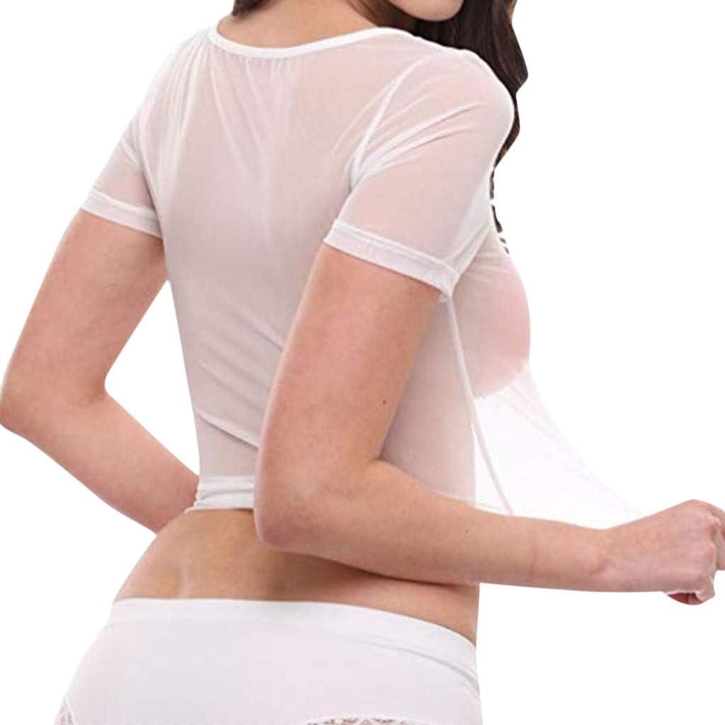 Women Intimates Sexy, Women's Sheer Mesh See-Through Short Sleeve Crop Tops Casual T Shirt