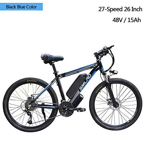 YDBET Eléctrica de Bicicletas de montaña, BTT eléctrica para Adultos, Bicicletas 26 Pulgadas de aleación de Aluminio Desmontable 350W eBike 27 Velocidad de 48V / 15Ah Iones de Litio,Black Blue