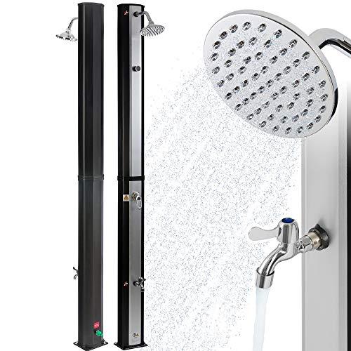Arebos Solardusche 35 L | 216 cm | Regulierbare Wassertemperatur bis 60° | Mit Fußdusche | Schwenkbarer Duschkopf