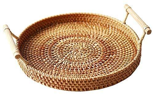 Wicker Storage Tray, Weaved Bamboo Kitchen Storage Hampers, Tray Display, Round Storage Baskets Home Decor Water Hyacinth Shallow Storage Basket