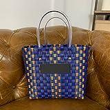 XKMY Cesta de la compra colorida cesta de la compra tejida a mano moda bolso de playa de vacaciones (color azul marino)