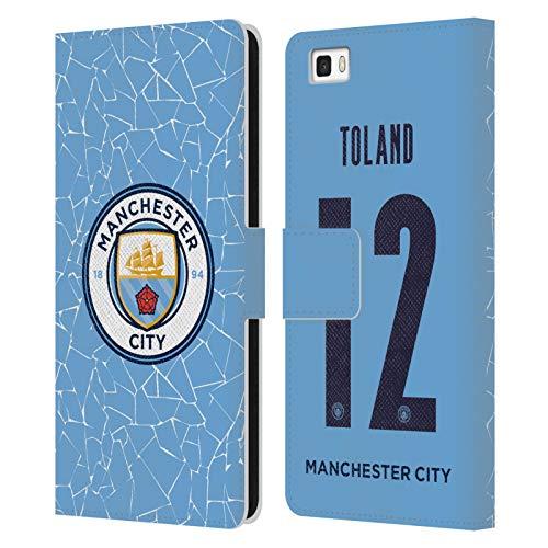 Head Case Designs Licenciado Oficialmente Manchester City Man City FC Tyler Toland 2020/21 Kit Hogar Mujer Grupo 2 Carcasa de Cuero Tipo Libro Compatible con Huawei P8lite / ALE-L21