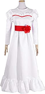 NSOKing Womens Girls Kids Red Rose Formal Party Long Sleeve Cosplay Costume Princess Dress