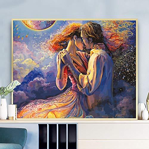 Pareja de Enamorados Dulce vals DIY Pintura por números Pintura por Número Niños Pintura por Números de decoración para el hogar Regalos con Pinceles 16x20 (40x50cm)
