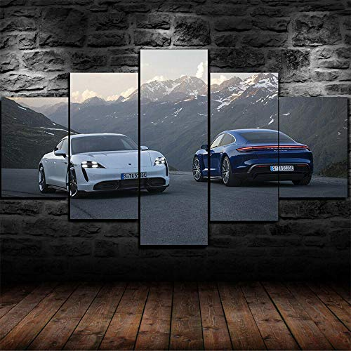 VYQDTNR - 5 Piece Canvas Wall Art 3D Printed Taycan Turbo S Car Painting Picture Poster Artwork for Living Room Bedroom Office Home Decoration Ready to Hang, Inner Framed