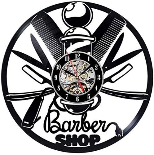 Reloj de pared de vinilo para peluquería, discotecas de vinilo, reloj de pared de diseño moderno de dibujos animados decoración reloj de pared para niños regalos decoración del hogar