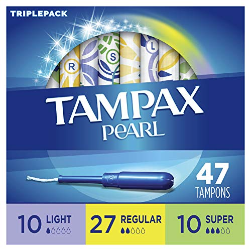 Tampax Pearl Plastic Tampons Multipack Light/Regular/Super Absorbency W Unscented 47 Count