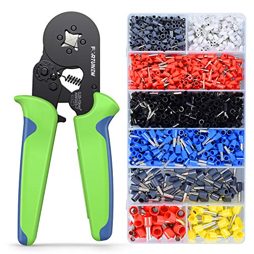 Fortunew Wire Crimping Tool Kit, Self-adjustable Ratchet Wire AWG23-7 Ferrule Crimping Tool Kit Crimper Plier Set with 1200PCS Wire Terminals Crimping Connectors Wire End Ferrules