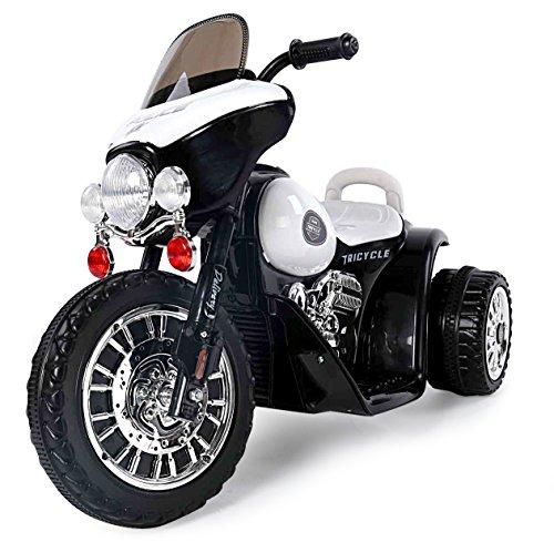Toyas Harley Kindermotorrad Elektromotorrad Kinderfahrzeug Dreirad Kinder Polizei Motorrad in Schwarz/Weiß