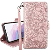 Petocase Compatible with Samsung Galaxy S21 5G Wallet Case,Embossed Mandala Floral Leather Folio Flip Wristlet Shockproof Protective ID Credit Card Slots Holder Cover for Galaxy S21 5G 6.2 Rose Gold