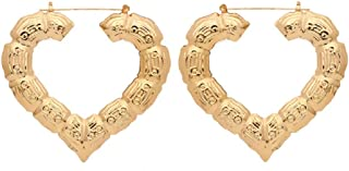 Bamboo Bone Geometric Circle Round Heart Hoop Earrings Rectangle Gold Tone For Women Statement Party Hip-Hop Jewelry-Heart