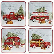 """Certified International Home for Christmas 6"""" Canape Plate, Set of 4 Assorted Designs, One Size, Mulicolored"""