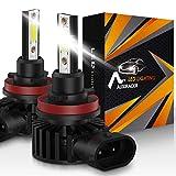 AUXIRACER Auto Lighting H11 H8 H9 H16 LED Bombillas para Faros Delanteros 12000LM 6500K 60W Luz LED para Coche, Faros Delanteros y Faros Antiniebla IP65 a Prueba de Agua (2 PCS)