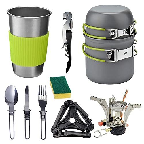 wjmss Camping Kit de Utensilios de Cocina con Estufa, 1-2 Personas Conjunto de cocción al Aire Libre portátil con Cuchara de Cuchillo para Viajar Picnic BBQ