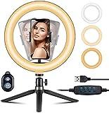 VicTsing 10' Ring Light avec Trépied & 3 Modes D'éclairage 10 Luminosité, Anneau Lumineux Selfie avec Télécommande & Support Mobile, pour Photographie