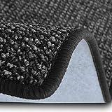 casa pura Teppich Läufer Carlton | Flachgewebe dezent Gemustert | Teppichläufer in vielen Größen | als Küchenläufer, Flurläufer | mit Stufenmatten kombinierbar (Anthrazit - 66x100 cm)
