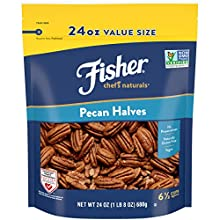 Contains 24 ounces of pecan halves. 24 ounces = 6 1/2 cups Fisher pecans add a rich, buttery note and crunchy, delicate texture to desserts, salads, main dishes, and appetizers No Preservatives, naturally gluten free, Non-GMO Project verified, Americ...