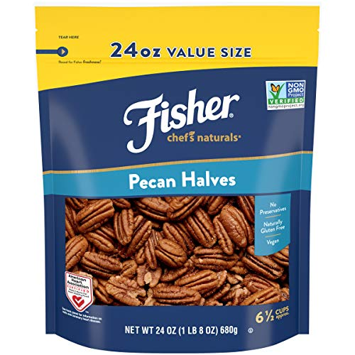 Fisher Chef's Naturals Pecan Halves, 24oz, Naturally Gluten Free, No Preservatives, Non-GMO