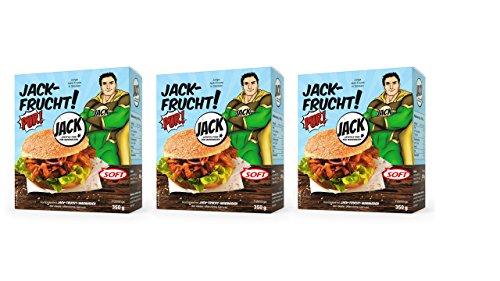 JACK-FRUCHT PUR!SOFT junge Jackfrucht, Jackfruit, 350 g vakuumiert, 3er Pack (3 x 350 g Beutel)