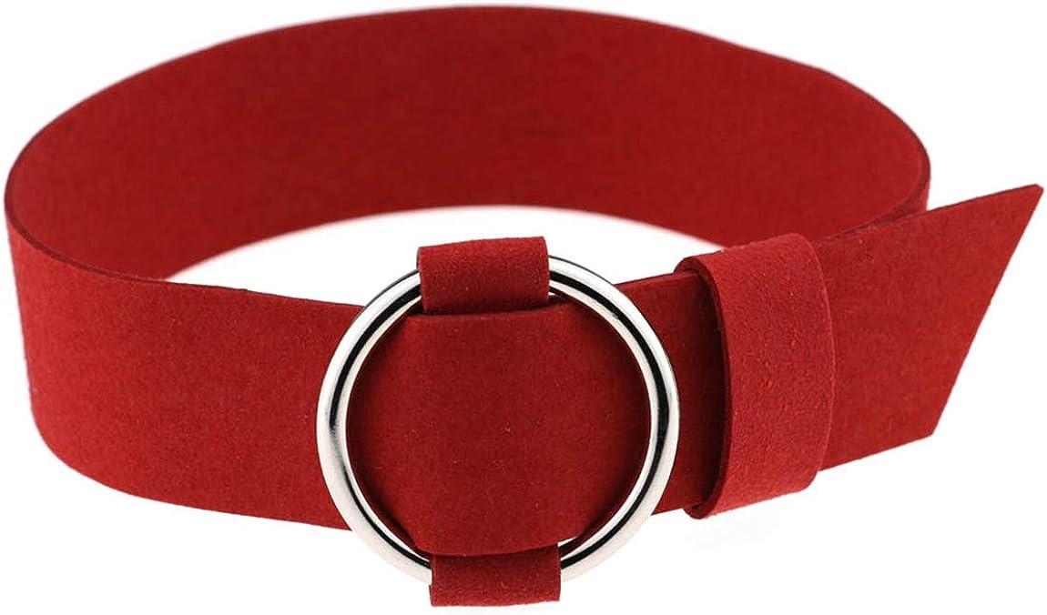XueXian Women's Pleather Faux Chamois Broad Choker Necklace Belt Collar 16 Colors