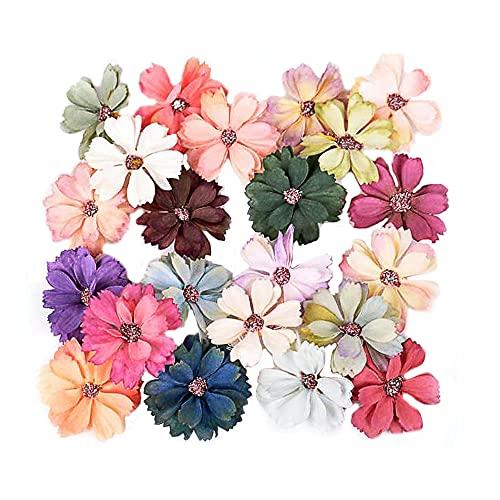 Dtaeye 60 Piezas Flores de Tela Flores Artificiales Manualidad De Flores Cabeza De Flor De Margarita Multicolor Color Aleatorio para DIY Adornos Accesorios Artesanía