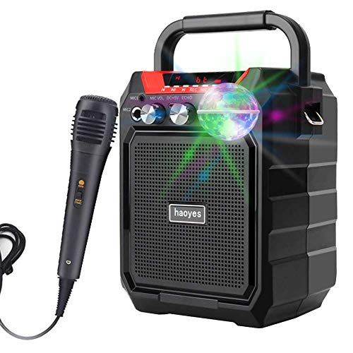 Portable Karaoke Machine with USB Disco Lights, Rechargeable PA System Bluetooth Speaker with FM Radio, Audio Recording, Remote Control, Supports TF Card/USB, Perfect for Party