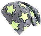 Wollhuhn ÖKO Long-Beanie, Wende-Mütze, ganzjährig, Circle Stars grau/grün, Innenseite Uni grau, für Mädchen (aus Öko-Stoffen, Bio), 20171121, Größe M: KU 52/54 (ca 3-7 Jahre)