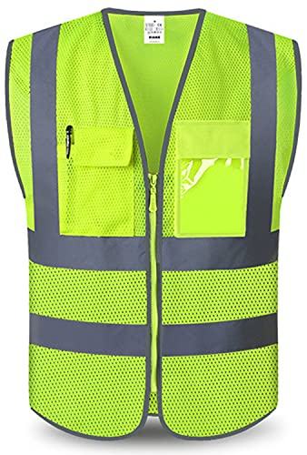 XIAKE Mesh Safety Vest with 4 Pockets and Zipper, High Vsibility Reflective Vest,Yellow,XL