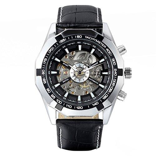 Avaner Herren Mechanische Uhr Analog Automatikwerk mit Leder Armband Steampunk Schwarz Avaner01P-46