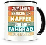 Samunshi® Fahrrad Tasse mit Spruch Kaffee und Fahrrad Geschenk für Fahrrad Fans Kaffeetasse groß Lustige Tassen zum Geburtstag schwarz 300ml