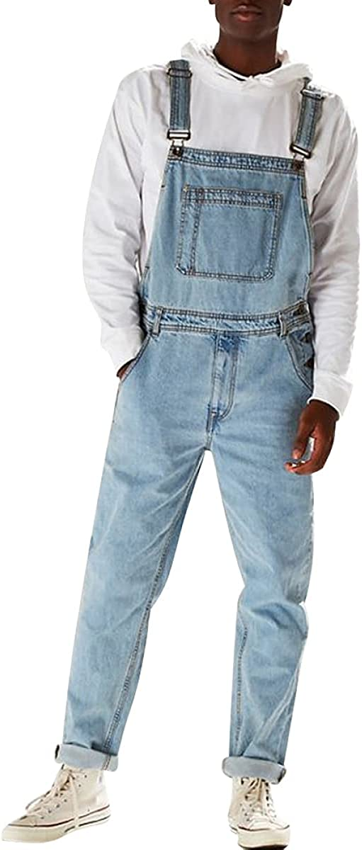 IIYUO Men's Denim Bib Popular shop is the lowest price challenge Pants Jumpsuits Washed Trust Jeans Jean Straight