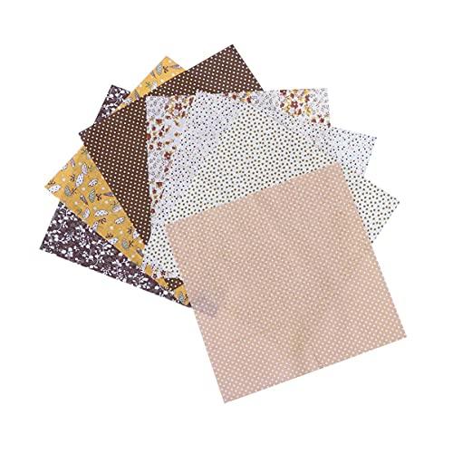 LIXBD 7 Stoff-Quadrate, Baumwolle, Patchwork, Basteln, Nähen, Scrapbooking, Quilten (Farbe: Kaffeebraun)