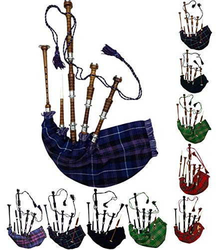 Pride of Scotland Bagpipe Rosewood with Silver Mounts Free Bagpipe Carrying...