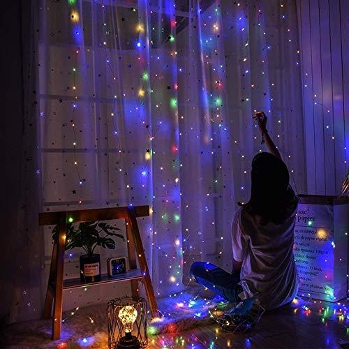 Luces de alambre de cobre con energía solar de 300 luces LED para decoración al aire libre de la boda, fiesta, jardín, dormitorio, 3 x 3 m, 300 ledes, funciona con energía solar