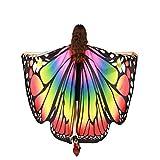 Dress-up: scialle con ali di farfalla, è una buona decorazione per il giorno del festival, per la festa in maschera e per la copertura in spiaggia che ti farà sembrare unico. Materiale: poliestere; Dimensioni: 168 * 130 cm. Design elegante: può farti...