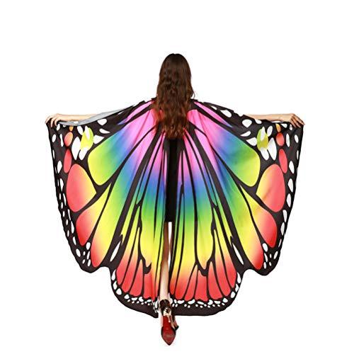 EDOTON Alas De Mariposa para Las Mujeres Niñas, NINFA Duendecillo Traje Accesorio Chales Fiesta Cosplay Traje de Baile (Arco Iris)