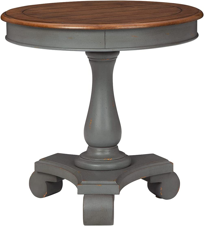 Signature Design by Ashley Mirimyn Farmhouse Round Accent Table, Gray & Brown