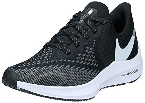 Nike Womens Zoom Winflo 6 Running Sneakers Black/White-Dark Grey AQ8228-003 (9 B US)