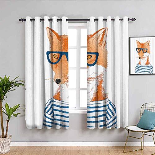 Moderna cortina de armario hipster mujer zorro con gafas y camisa a rayas Humor personaje animal impresión cortina interior azul naranja blanco W63 x L63 pulgadas