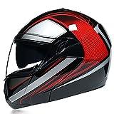 GENGJ Casco De Motocicleta Modular Aprobado por ECE-YEMA YM-925 Casco De Motocicleta con Doble Parasol Adecuado para Hombres Y Mujeres Adultos Four Seasons,D,S