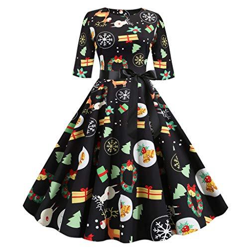 YBWZH Weihnachtskleider Damen Elegant mit Weichnachten Katzen, Katzenliebhaber Geschenk für Weihnachten 1/2 Arm Elegant A-Linie Abendkleider Gestreift Rot Grün Weihnachtskleid Lustig