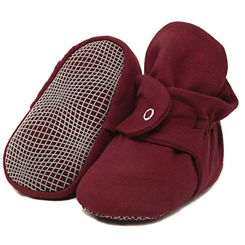 Organic Cotton Baby Booties, Non Skid, Soft Sole, Stay On Baby Shoes, House Slippers for Baby Boys Girls Toddlers (Burgundy, 0-6 Months)