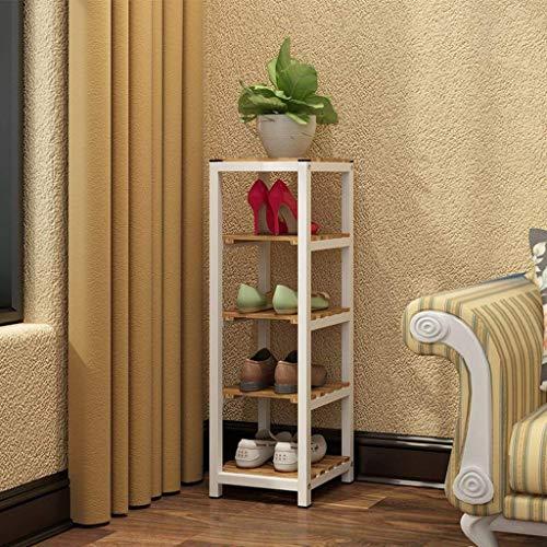 LLLKKK Zapatero multicapa de hierro forjado, estantería para el hogar, resistente al polvo, para salón, zapatos de casa, estantería de madera maciza, zapatero, dormitorio, color negro