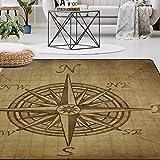 Naanle Vintage Compass Rose Area Rug 5'x7', Compass Navigation Modern Polyester Area Rug Mat for Living Dining Dorm Room Bedroom Home Decorative