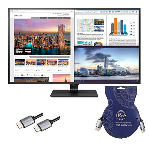 LG 43UD79-B 43' Class 4K Ultra HD IPS Monitor + H&A High-Speed HDMI 2.0 Cable with Ethernet (Gold Series) 10'