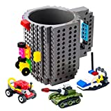 BOMENNE Build-on Brick Mug,Novelty Creative DIY Block Buddy Cup With 3 Packs Of Blocks Randomly,Unique Kids Party Fun Mug Compatible with Lego For ALL Festival and Christmas gifts ideas,Grey