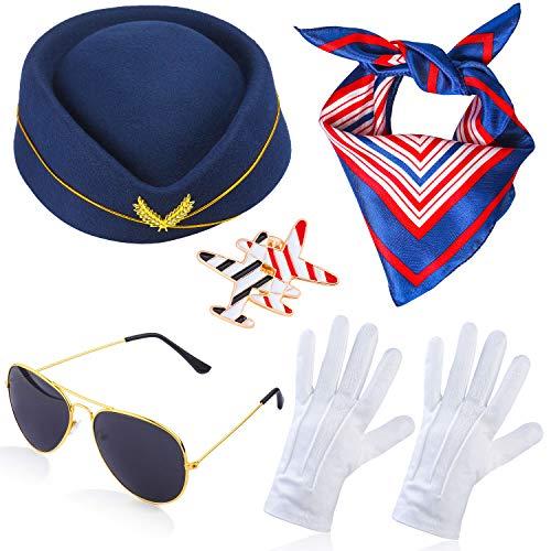 Haichen Damen Stewardess Kostümzubehör Flugbegleiterin Hut mit Stewardess Cosplay Kostümzubehör - 4 Stück (C)