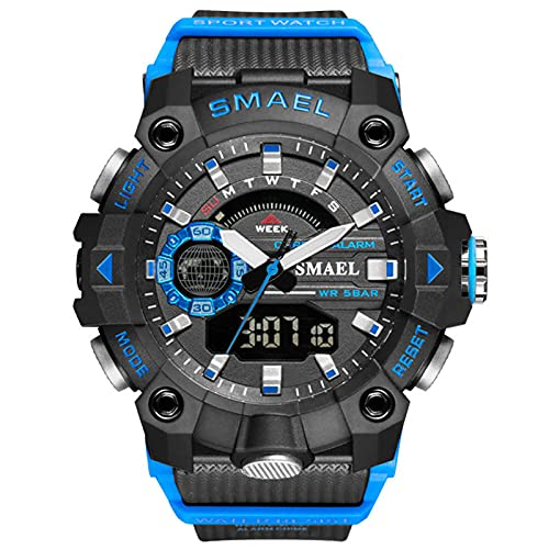 QZPM Moda para Hombre Reloj Deportivo Digital Resistente Al Agua 50M Militar Reloj Grande De La Cara Deportes Al Aire Libre Relojes Electrónicos,Azul
