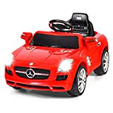 Costzon Ride On Car, Licensed Mercedes Benz SLS Battery Powered Electric Vehicle w/ Parental Remote Control, Headlights, Music, MP3, Volume Control, Ride On Toy for Boys & Girls (Red)